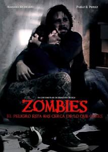 cartel con imagen de una pareja escondidos en una habitación rodeada de zombies
