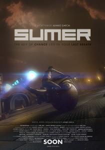cartel de sumer, corto futurista de animación, moto en desierto